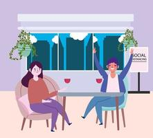 social distancing restaurant or a cafe, man and woman with glass wine keep distance, covid 19 coronavirus, new normal life vector