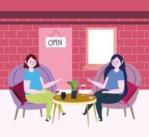 restaurante o cafetería de distanciamiento social, mujeres sentadas a la mesa hablando con tazas de café y vino, covid 19 coronavirus, nueva vida normal vector