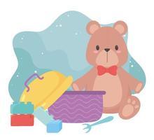 kids toys object amusing cartoon teddy bear blocks and lunch box