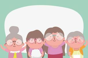 happy grandparents day, elderly group grandmothers cartoon character vector