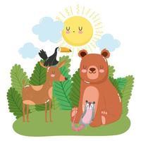 lindo oso ciervo tucán y zarigüeya en arbustos de hierba naturaleza salvaje dibujos animados