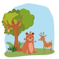 cute animals bear with bees and reindeer grass forest nature wild cartoon vector