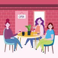 restaurante o café de distanciamiento social, mujeres jóvenes con tazas de café y vino en la mesa, coronavirus covid 19, nueva vida normal vector