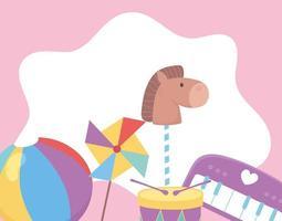 kids toys object amusing cartoon horse piano ball and pinwheel vector