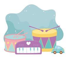 juguetes para niños, batería, piano y coche, objeto, divertido, caricatura