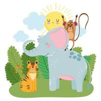 cute elephant monkey and tiger grass bushes nature wild cartoon vector