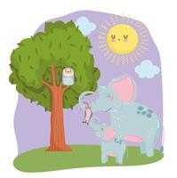 animales lindos elefantes zarigüeya y búho en árbol hierba bosque naturaleza salvaje dibujos animados