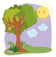 lindos animales mono colgando rama árbol hierba follaje naturaleza salvaje dibujos animados