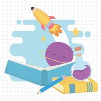 back to school, books test tube and pencil education cartoon vector