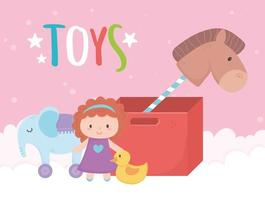 kids toys object amusing cartoon cardboard box with horse doll elephant and duck vector