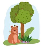Lindos animales oso sentado con abejas en la hierba árbol naturaleza salvaje caricatura vector
