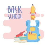 regreso a la escuela, mochila libros cohete inicio educación dibujos animados vector