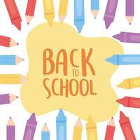 regreso a la escuela, educación, dibujos animados, lápices de colores y crayones, fondo vector