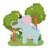 cute elephant with toucan and monkey hanging on branch grass foliage nature wild cartoon vector