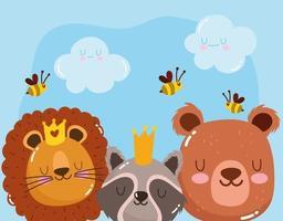 animales lindos caras adorables león oso mapache con abejas y coronas dibujos animados vector