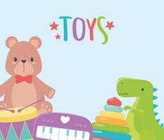 kids toys object amusing cartoon bear piano dinosaur drum and pyramid vector