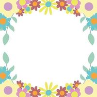 flowers leaves nature decoration border white background vector
