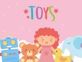 niños juguetes objeto divertido dibujos animados muñeca oso elefante pato y robot