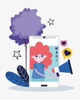 young woman smartphone megaphone message love social media vector