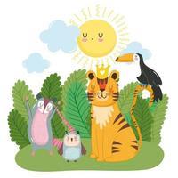 lindo tigre tucán búho zarigüeya sobre hierba arbustos naturaleza salvaje dibujos animados