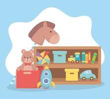kids toys object amusing cartoon wooden shelf horse bear rocket car books and train vector