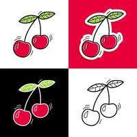 Cherry hand drawn set vector