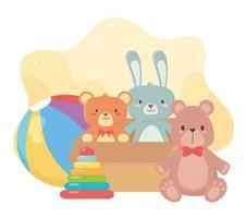 kids toys box with cute bears rabbit ball and pyramid object amusing cartoon