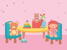 kids toys object amusing cartoon table chairs with bear doll box rocket and car vector