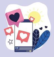 teléfono inteligente bocadillo amor romántico redes sociales vector