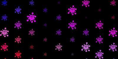 Fondo de vector multicolor oscuro con símbolos covid-19
