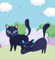 cartoon black cats in grass nature landscape pets vector