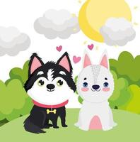 adorable puppies sitting in the grass landscape pets vector