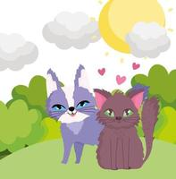cartoon cats sitting in grass sky nature landscape pets vector