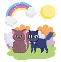 brown cat and black cat with collar landscape pets vector