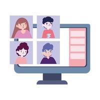 fiesta en línea, reunirse con amigos, la gente se mantiene en contacto mediante videollamadas en la computadora portátil vector