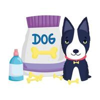 black dog with bones food package pets vector