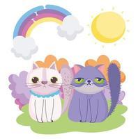 gatos de dibujos animados sentados en la hierba cielo mascotas