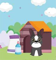 dog house with food package outdoor pets vector