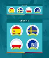 Football 2020 tournament final stage group E badge set vector