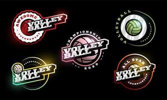 conjunto de logotipo de vector de voleibol