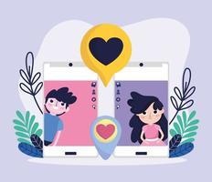 cute girl and boy smartphone screen chat romantic love social media vector