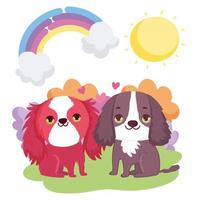 cute puppies sitting rainbow sun clouds pets vector