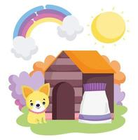 puppy house and food pack outside pets vector