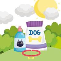 food package dog collar and veterinary bottle for cat pets vector