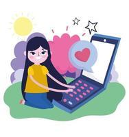 Mujer joven escribiendo en el teléfono inteligente amor charlando en las redes sociales vector
