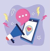 social media smartphone speaker love romantic vector