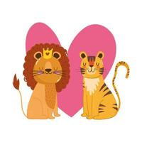 cute cartoon animals lion and tiger flowers heart love adorable