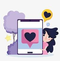 cute girl smartphone favourite love chat social media vector