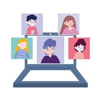 online party, meeting friends, people keep in touch using video call on laptop vector