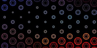 Telón de fondo de vector azul oscuro, rojo con símbolos de misterio.